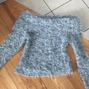 Dina Bar-El Women's Fuzzy Cowl Neck Sweater